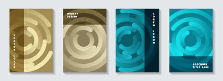 Promotional portfolio covers mockups. Abstract flyer concentric elements motion vector backdrops. Aim goal achievement circles concept. Simple catalogue front pages templates.