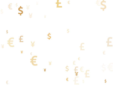 Euro dollar pound yen gold signs flying currency vector background. Trading concept. Currency symbols british, japanese, european, american money exchange signs wallpaper.