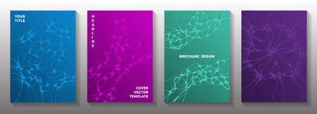 Scientific vector covers with molecular structure or nervous system cells. Doodle waves weave backdrops. Modern magazine vector templates. Anatomy, biology, medicine covers.