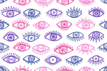 Different human eyes colorful seamless pattern. Pop art graphic style illustration. Cosmetics packaging vector design. Isolated eyes on white background cartoon endless ornament. Vettoriali
