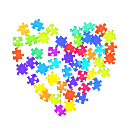 Game riddle jigsaw puzzle rainbow colors parts vector illustration. Top view of puzzle pieces isolated on white. Teamwork abstract concept. Jigsaw pieces clip art.