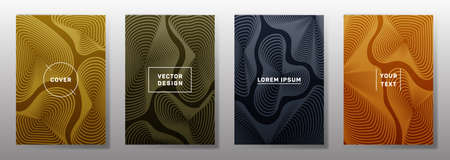 Minimal cover templates set. Fluid curve shapes geometric lines patterns. Geometric poster, flyer, banner vector backgrounds. Line stripes graphics, title elements. Cover page templates.
