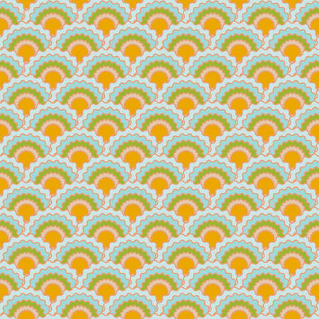 Funky snake skin scales squama background, vector seamless fabric pattern, tiled textile print. Classic japanese squama scales seamless arc tiles background. Snake skin pattern. Standard-Bild - 157156794