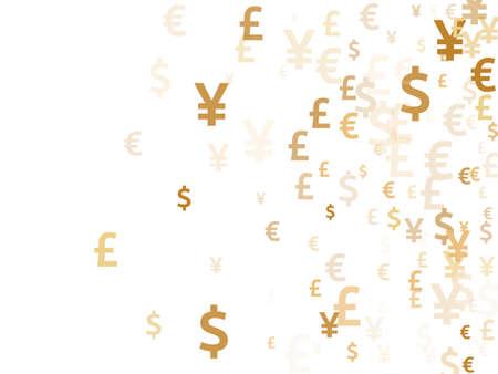 Euro dollar pound yen gold symbols scatter money vector illustration. Deposit backdrop. Currency pictograms british, japanese, european, american money exchange elements graphic design. 向量圖像
