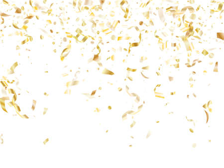 Gold glowing realistic confetti flying on white holiday vector background. Rich flying tinsel elements, gold foil texture serpentine streamers confetti falling xmas vector.