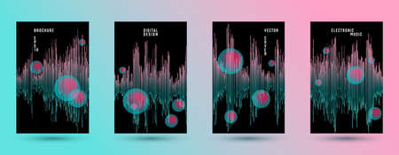 Music banners set with sound wave background.  Abstract seismic amplitude concept.  Distorted sound wave equalizer cover templates. Audio track record waveform.
