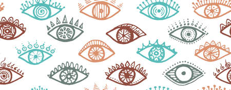 Doodle human eyes esoteric endless pattern. Pop art graphic style illustration. Mascara packaging vector design. Isolated eyes with girly eyelashes trendy repeatable ornament.