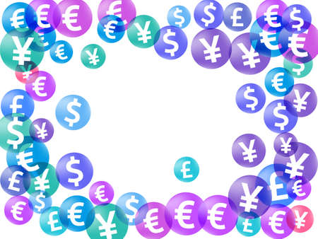 Euro dollar pound yen circle signs flying money vector illustration. Success backdrop. Currency icons british, japanese, european, american money exchange signs graphic design.
