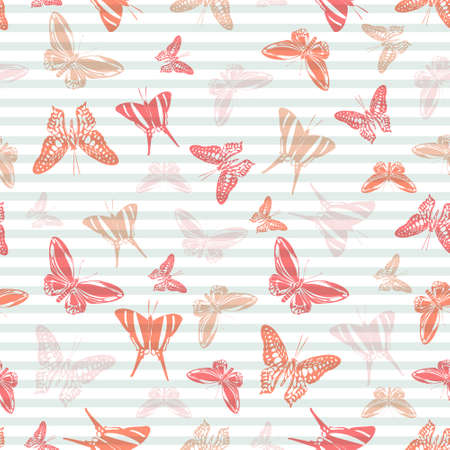 Flying summer butterfly silhouettes over horizontal stripes vector seamless pattern. Cartoon textile print design. Stripes and butterfly garden insect silhouettes seamless illustration. 矢量图像