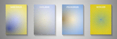 Abstract dot screen tone gradation cover page templates vector set. Industrial brochure faded screen tone backgrounds. Vintage comics style cover leaflets. Linear design. 矢量图像