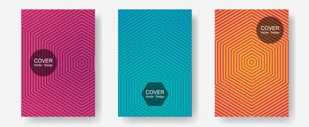 Cool flyers set, vector halftone poster backgrounds. Contemporary collection. Halftone lines annual report templates. Corporate catalogs. Geometric lines shapes patterns set for flyer design. 矢量图像