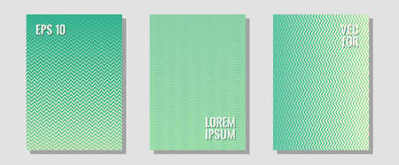 Brochure covers, posters, banners vector templates. Presentation backdrops. Zigzag halftone lines wave stripes backdrops. Corporate catalogs. Geometric graphic design for booklet brochure covers.