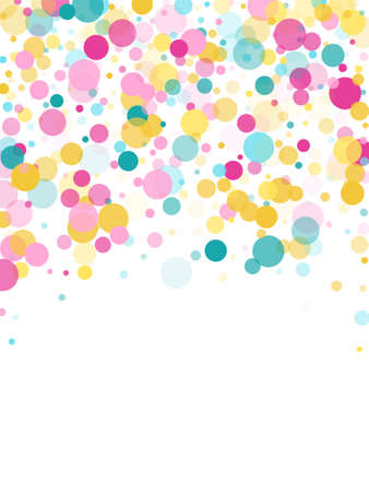Memphis round confetti flying background in cyan, magenta and gold on white. Childish pattern vector, children's party birthday celebration background. Holiday confetti circles in memphis style.