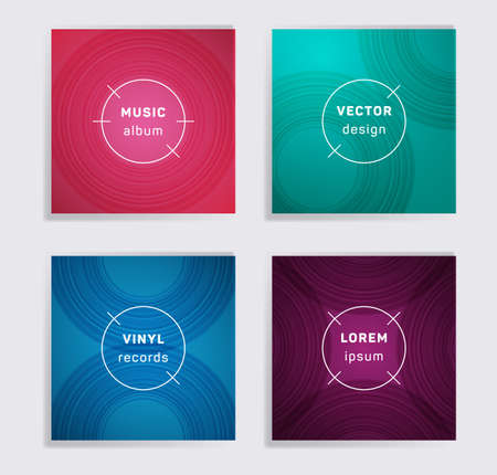 Cool vinyl records music album covers set. Semicircle curve lines patterns. Tech creative vinyl music album covers, disc mockups. DJ records geometric layouts. Banners flyers cards set.