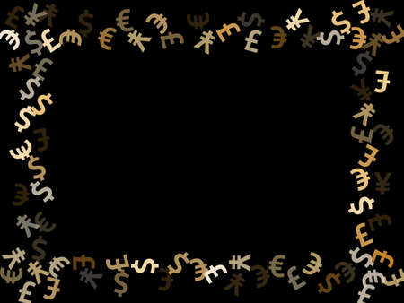 Euro dollar pound yen metallic signs scatter money vector design. Marketing backdrop. Currency pictograms british, japanese, european, american money exchange elements background. 向量圖像