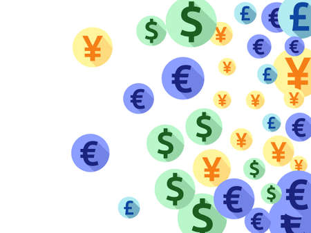 Euro dollar pound yen round symbols flying currency vector illustration. Financial pattern. Currency tokens british, japanese, european, american money exchange signs background.