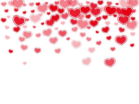 Random red hearts confetti vector illustration. Romantic February 14 backdrop. Framed hearts love pleasure symbols isolated on transparent background. Valentine's day sweet decor.