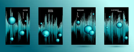 Music covers set with sound wave background.  Abstract soundwave amplitude.  Distorted sound wave equalizer cover templates. Soundtrack waveform.