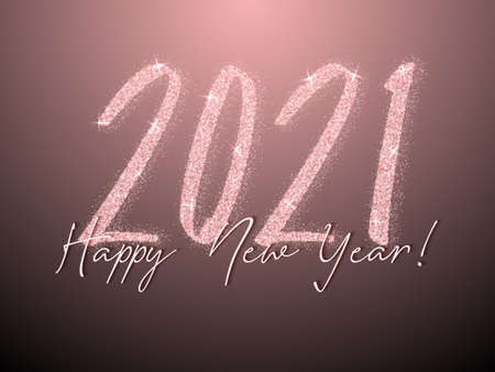 2021 Happy New Year vector poster. Confetti particles font calligraphy. Happy New Year wishes, 2021 of confetti elements. Rich celebration banner.