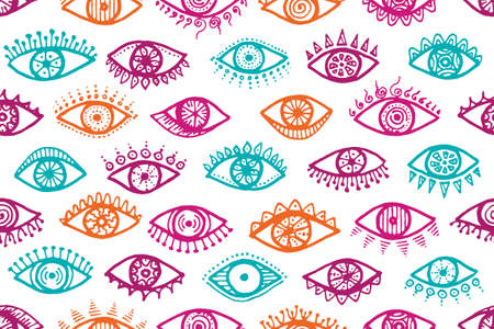Different female eyes cartoon endless pattern. Pop art graphic style illustration. Mascara wrapping print design. Open eyes on white background hipster seamless ornament.