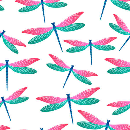 Dragonfly funky seamless pattern. Repeating dress textile print with damselfly insects. Isolated water dragonfly vector illustration. Fauna breathers seamless. Damselflies with wings.