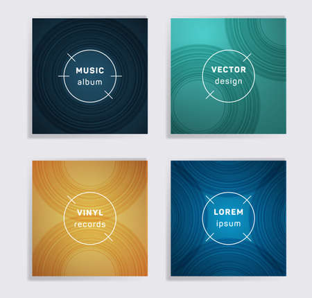Digital vinyl records music album covers set. Semicircle curve lines patterns. Futuristic creative vinyl music album covers, disc mockups. DJ records geometric layouts. Posters material design.