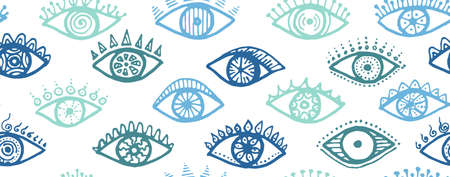 Hand drawn human eyes tribal repeatable pattern. Sketch drawing style illustration. Makeup packaging vector design. Isolated eyes with girly eyelashes trendy seamless ornament.