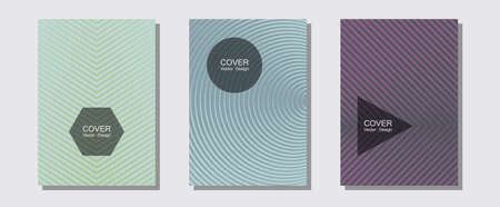 Brochure covers, posters, banners vector templates. Neoteric composition. Halftone lines music poster background. Minimal booklets. Geometric graphic design for booklet brochure covers.