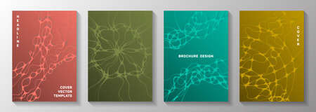 Irregular system concept abstract vector covers. Liquid curve lines fusion textures. Stylish banner vector layouts. Radio physics cover pages graphic design set.