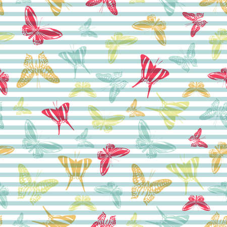 Flying cute butterfly silhouettes over horizontal stripes vector seamless pattern. Kids fashion textile print design. Lines and butterfly garden insect silhouettes seamless pattern.