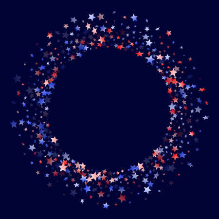 American Independence Day stars background. Holiday confetti in US flag colors for President Day. Vivid red blue white stars on dark American patriotic vector. July 4th stardust elements. Illustration
