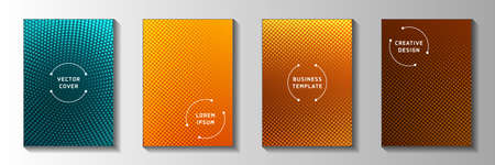 Modern circle perforated halftone cover page templates vector collection. School poster faded halftone backdrops. Retro comics style title page layouts. Gradient design. 矢量图像