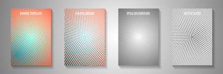 Futuristic circle perforated halftone front page templates vector batch. School journal faded halftone backdrops. Retro cartoon comics style title page leaflets. Rectangle albums.