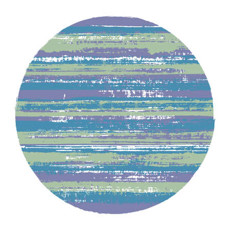 Ragged circle vector geometric shape with striped texture of ink horizontal lines. Old paint texture disk. Label round shape circle element with grunge background of stripes.