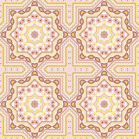 Retro victorian majolica tile seamless pattern. Geometric texture vector motif. Clothes print design. Classic spanish mayolica tilework endless pattern. Geometric shapes wallpaper. Ilustração