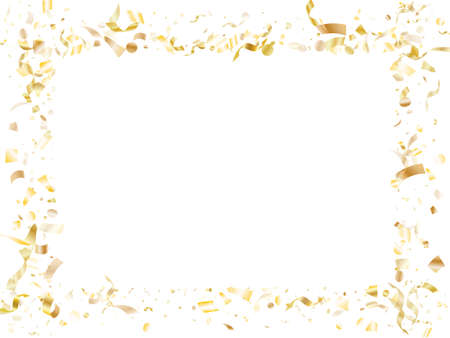 Gold glowing realistic confetti flying on white holiday vector background. VIP flying tinsel elements, gold foil texture serpentine streamers confetti falling birthday background.
