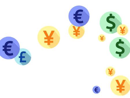 Euro dollar pound yen round signs scatter money vector background. Deposit pattern. Currency pictograms british, japanese, european, american money exchange signs background.