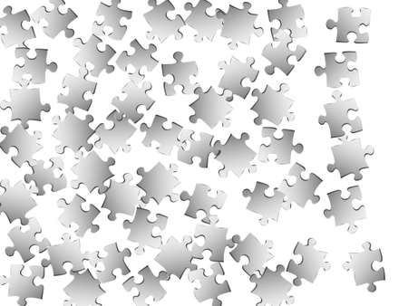 Abstract crux jigsaw puzzle metallic silver parts vector illustration. Group of puzzle pieces isolated on white. Challenge abstract concept. Connection elements.  イラスト・ベクター素材