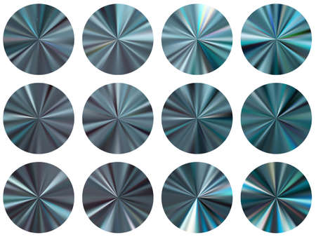 Lead radial metallic gradient ui button elements vector set. Polished bright swatches. Banner metal gradient texture templates. Label backgrounds material design.