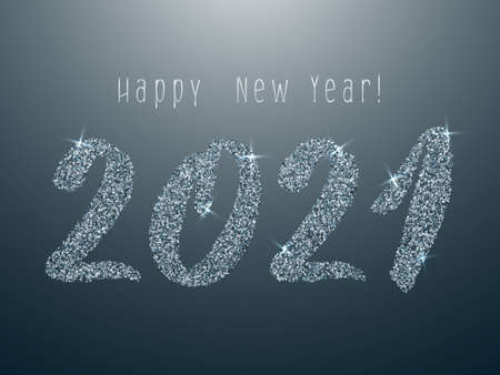 Platinum 2021 Happy New Year vector banner. Confetti particles number lettering. Happy New Year wishes, 2021 of confetti elements. Luxurious banner.