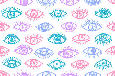 Different open eyes ethnic seamless pattern. Sketch drawing style illustration. Cosmetics wrapping print design. Isolated eyes with girly eyelashes boho repeatable ornament. Vettoriali