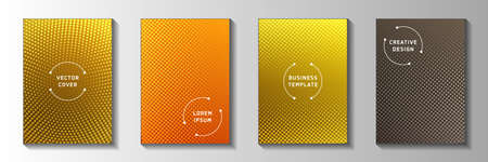 Abstract dot faded screen tone cover page templates vector batch. Scientific flyer perforated screen tone backdrops. Retro cartoon comics style front page leaflets. Distressed prints.
