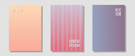 Halftone flat patterns abstract vector set. Minimal booklets. Zigzag halftone lines wave stripes backdrops. Vivid mockups samples. Geometric covers of lines gradient flat patterns.