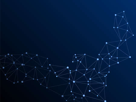 Geometric plexus structure cybernetic concept. Network nodes plexus dark blue background. Net grid of node points, lines matrix. DNA helix strand, molecule. Coordinates structure grid shape vector.