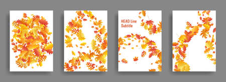 Autumn leaves falling card seasonal backgrounds or covers vector set. Yellow orange red dry autumn leaves organic backdrops. Falling dry foliage brochure covers, card backgrounds graphic design. 向量圖像