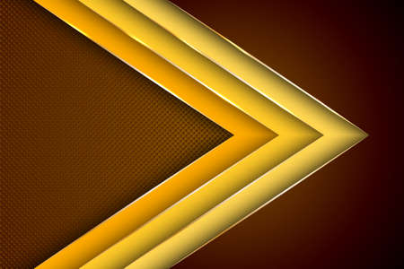 Polygonal arrow with gold triangle edge lines banner vector design. Rich business background template. Futuristic cover graphic design. Gold metallic edge lines, gradient overlapping shapes.