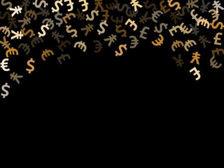Euro dollar pound yen metallic symbols flying money vector background. Commerce pattern. Currency symbols british, japanese, european, american money exchange elements graphic design. 向量圖像