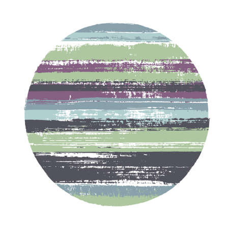 Abstract circle vector geometric shape with stripes texture of ink horizontal lines. Disk banner with old paint texture. Badge round shape logotype circle with grunge stripes background.