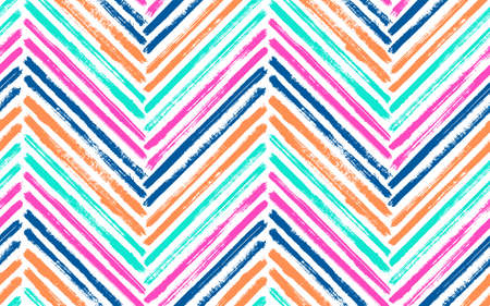 Distressed zigzag interior print vector seamless pattern. Paintbrush strokes geometric stripes. Hand drawn paint texture zig zag chevron ornament. Watercolor textile print seamless design.