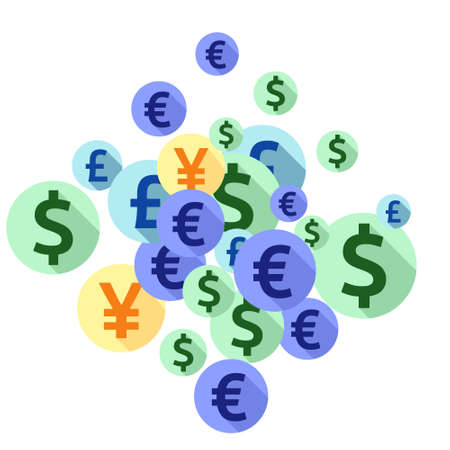 Euro dollar pound yen round signs scatter money vector design. Success concept. Currency tokens british, japanese, european, american money exchange elements background. 向量圖像